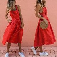 Женское летнее богемное длинное платье макси на бретелях, сексуальные вечерние платья красного цвета с открытой спиной, пляжный сарафан, ...