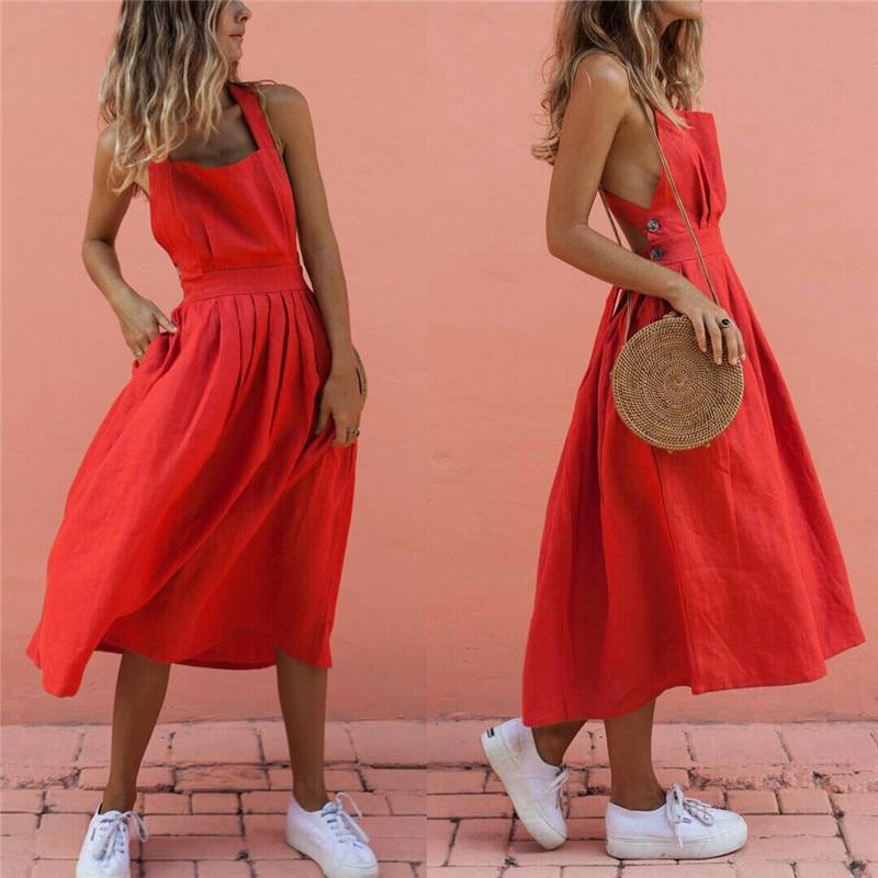 Women Summer Boho Strappy Long Maxi Dress Sexy Backless Party Red Dress Beachwear  Sundress vestido mujer short dresses office wear