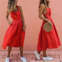Mujer Boho verano Strappy largo Maxi vestido Sexy sin espalda fiesta rojo vestido de playa Sundress mujer