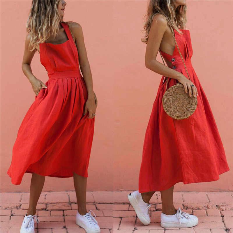 女性夏自由奔放に生きるストラップロングマキシドレスセクシーな背中パーティー赤ドレスビーチウェアサンドレス vestido mujer
