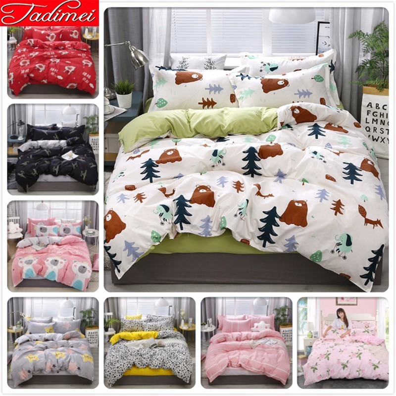 3/4 Pcs Bedding Set Adult Kids Boy Girl Soft Cotton Bed Linen Single Twin Full Queen Double King Size Bedspreads 150x200 220x240