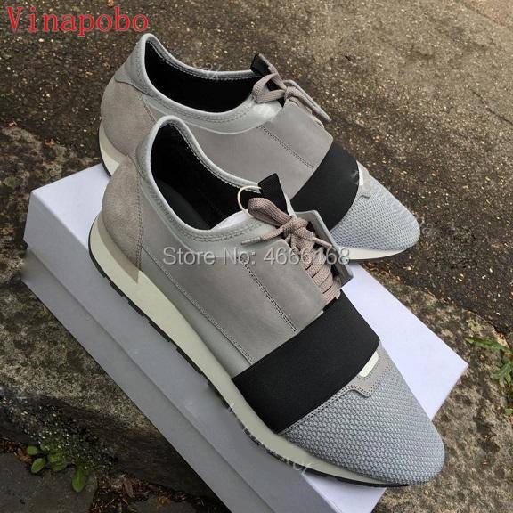 ชื่อยี่ห้อใหม่มาถึงชายหญิงรองเท้าสบายๆรองเท้าแบนแฟชั่น Patchwork ตาข่ายหนัง Low Cut Lace   up เทรนเนอร์ Runner รองเท้ากลางแจ้ง-ใน รองเท้าลำลองของผู้ชาย จาก รองเท้า บน   1