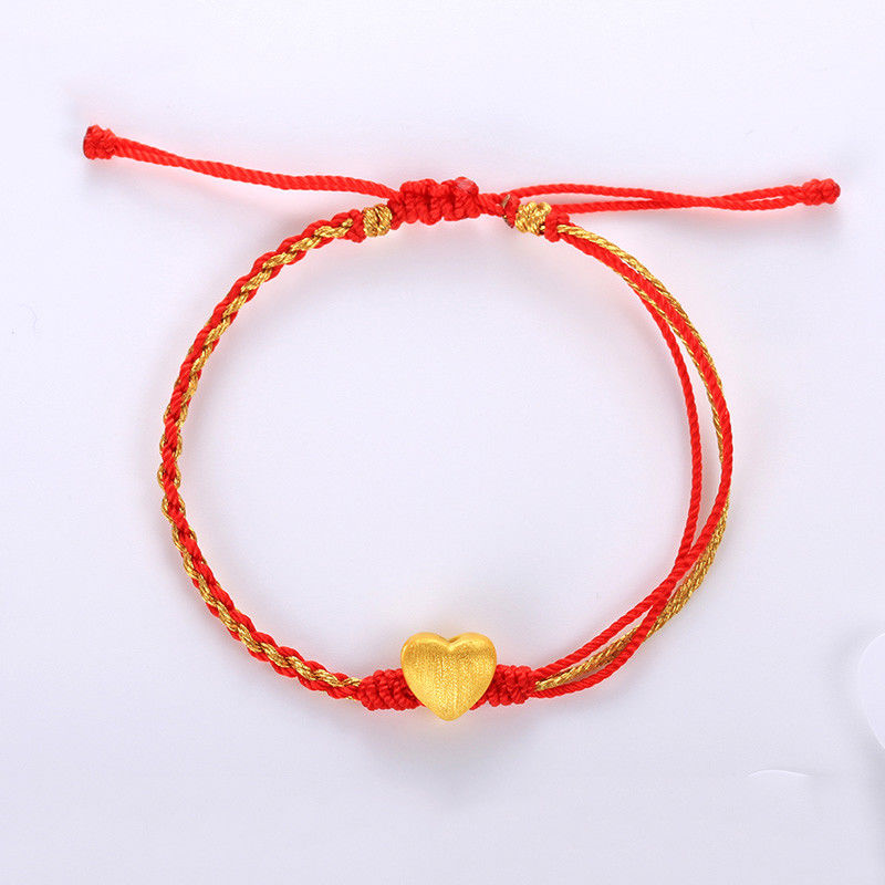 Solid 24k Yellow Gold Bracelet Smart Heart Bead Golden Cord BraceletSolid 24k Yellow Gold Bracelet Smart Heart Bead Golden Cord Bracelet