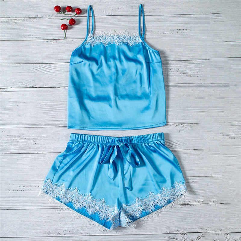 a65ac75d12c ... 2Pcs Ladies Sexy Satin Lace Camisole Lace Up Shorts Pyjamas Set Women  Cute Sleepwear Babydoll Lingerie ...