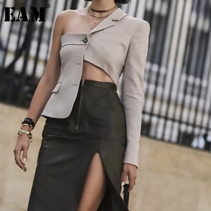 [EAM] 2020 New Spring Autumn Lapel Long Sleeve Irregular Cut Hollow Out Personality Jacket Women Coat Fashion Tide JS707