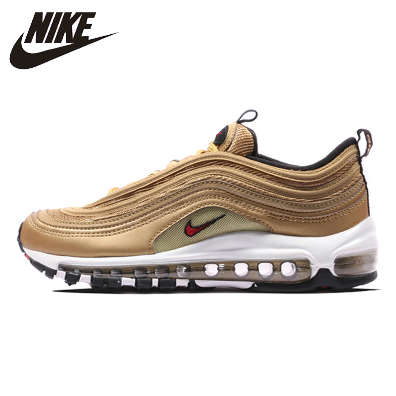 Nike Air Max 97 OG QS Woman Running Shoes Gold And Silver Bu