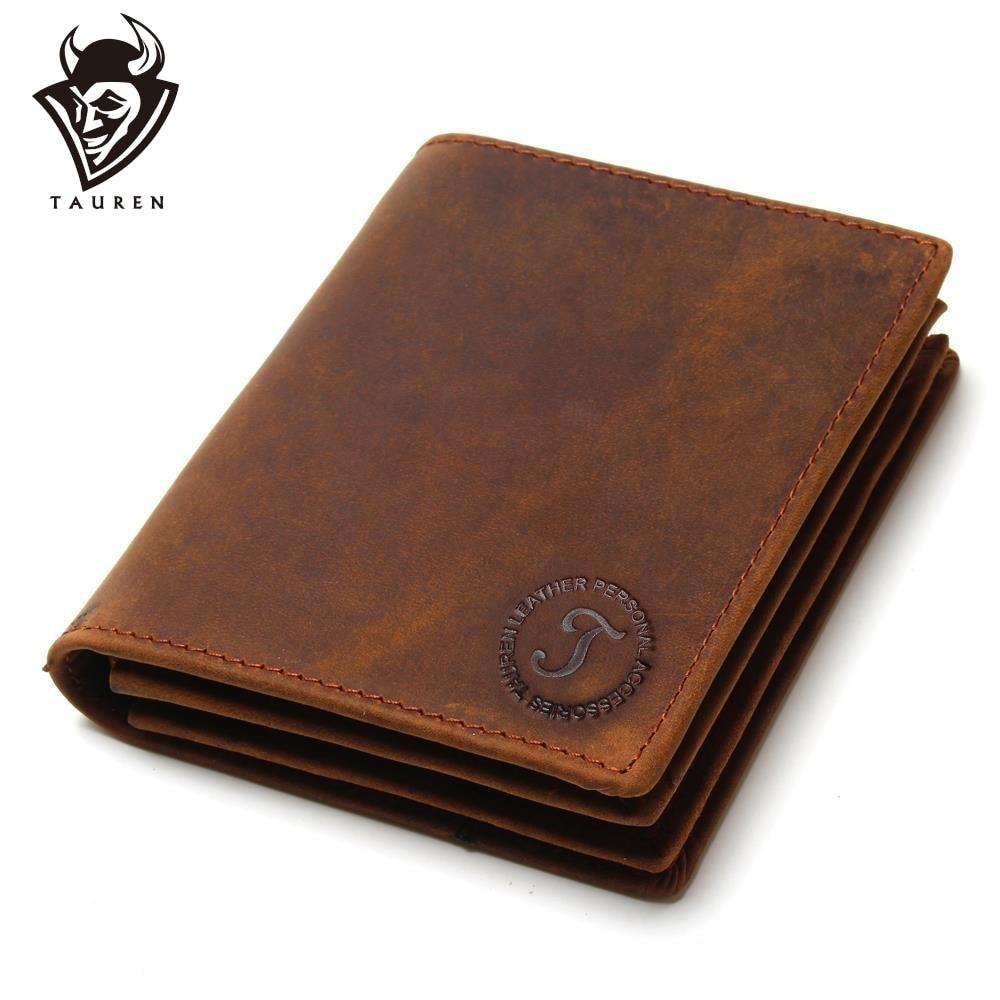 Men Wallets Purse Multi-Functional Cowhide-Coin Handmade Crazy-Horse Vintage