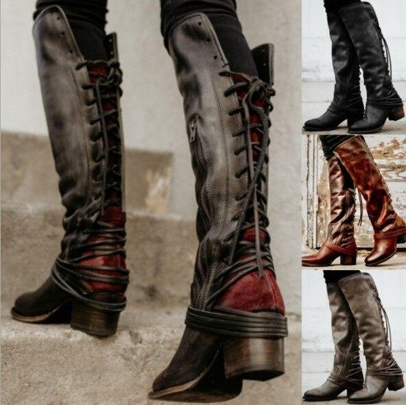 Sapato feminino femmes bottes genou haut vintage PU cuir chaussures femme croisé à lacets gladiateur chaussons filles chaussure hjn89