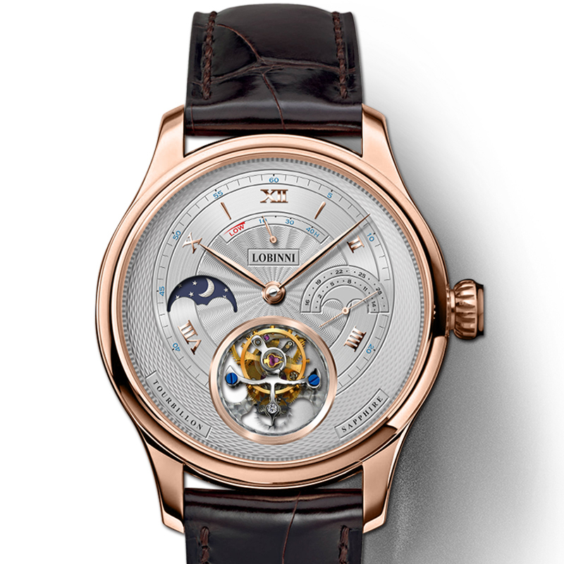 LOBINNI marque de luxe montres hommes suisse Tourbillion mécanique hommes montre saphir étanche horloge énergie affichage L8886-8