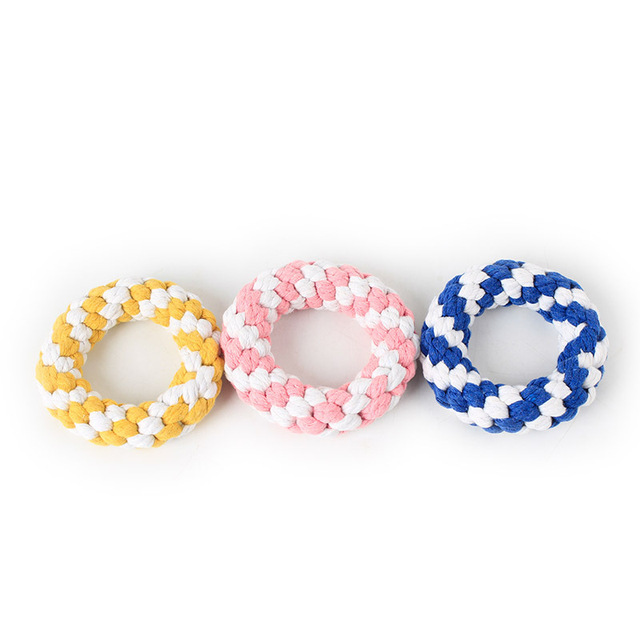 Pet Supply Dog Toys Donuts Dogs Chew Teeth Clean Outdoor Traning Fun Playing Rope Toy for Large Small Dog Cat