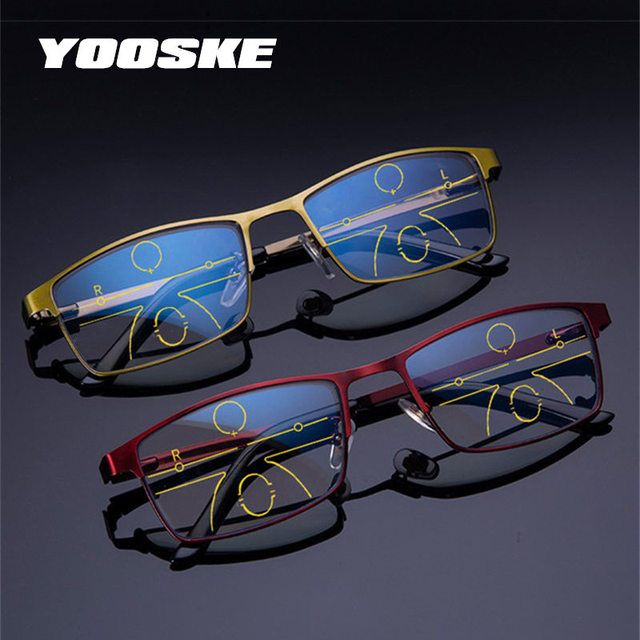 032d9b98f43 YOOSKE Anti Blue Light Reading Glasses Men Progressive Multifocal Glasses  Women Near Far Sight Alloy Frame