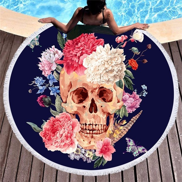 SUGAR SKULL HIPPIE ROUND BEACH TOWEL (4 VARIAN)