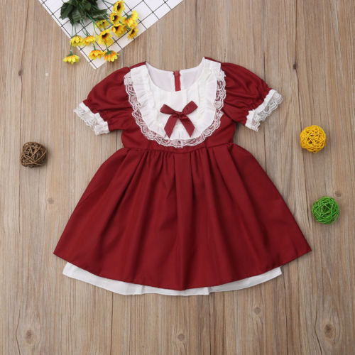 UK Kid Toddler Baby Girls Plaid Sleeveless Princess Party Tutu Cute Dress Summer