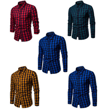 2019 Brand New Luxury Men Dress Plaid Shirts Long Sleeve Slim Fit Formal Business Casual Top Male Clothing Sets