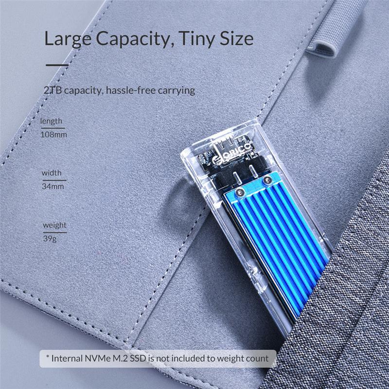 ORICO Type-c NVME M.2 HDD Boîte USB C SSD Boîtier Boîtier jusqu'à GEN2 10gbps Supprot 2 to avec Câble - 5