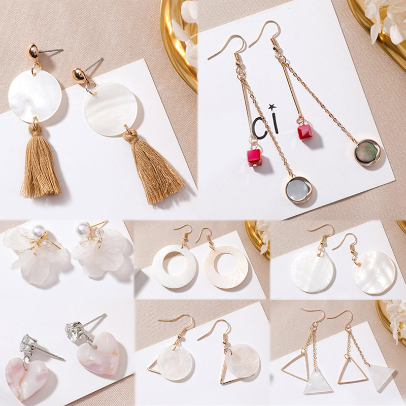 Sale Sweet White Asymmetric Shell Round Earrings For Women Korean Simple Shell Flower Tassel Earring Geometry Jewelry in Drop Earrings from Jewelry Accessories