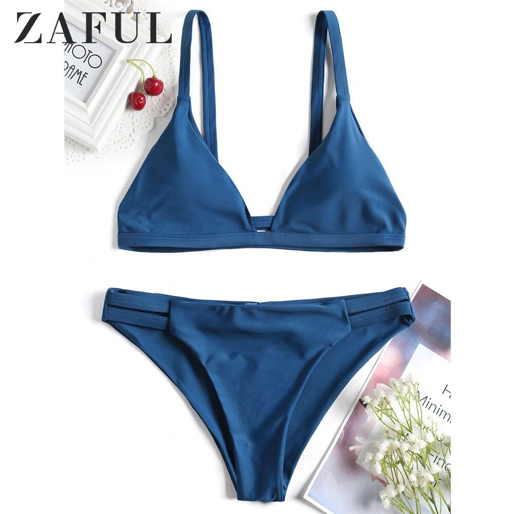 ZAFUL Bikini Cami Ladder Cut Ruched Bathing Suit Wire Free Spaghetti Straps Elastic Swim Suit Padded Sexy Swimwear 2019 Biquini