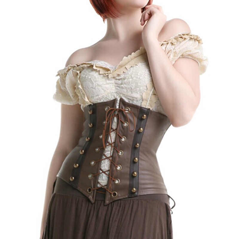 Vrouwen Bruin Faux Leather Gothic Steampunk Korsetten En Bustiers Lace Up Uitgebeende Underbust Taille Cincher