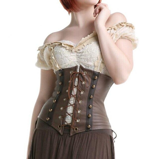 المرأة براون فو الجلود القوطية Steampunk الكورسيهات و المشدات الدانتيل يصل الجوفاء Underbust مشد للخصر