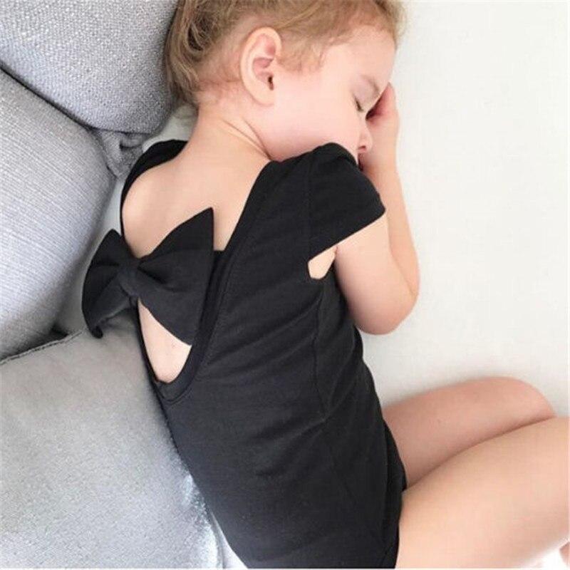 Newborn Cute Cotton Baby Girl Bodysuit Infant Kids Backless Summer Short Sleeve Leotard Tops Bodysuits Baby Clothing