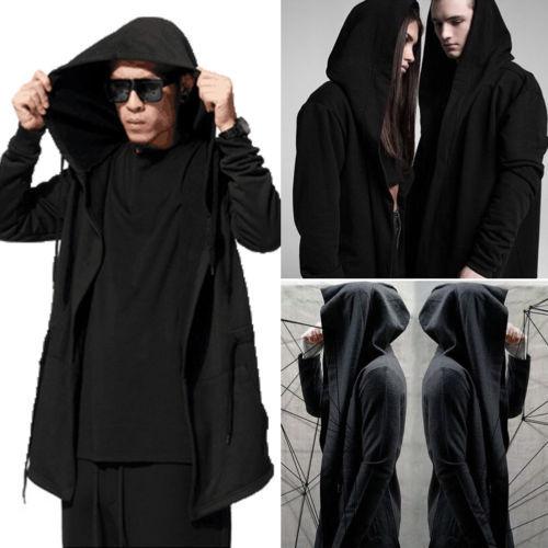 2019 Brand Black Trench Coat Men Fashion Coat Long Sleeve Hooded Cloak Jacket Casual Solid Cardigan Winter Autumn Outwear Coat