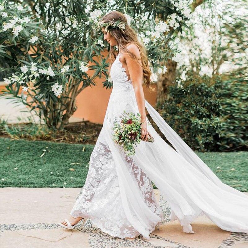 Robe de mariée plage de conte de fées sangle Spaghetti une ligne en mousseline de soie dos nu Boho robe de mariée 2019 pas cher dentelle robe de mariée livraison gratuite