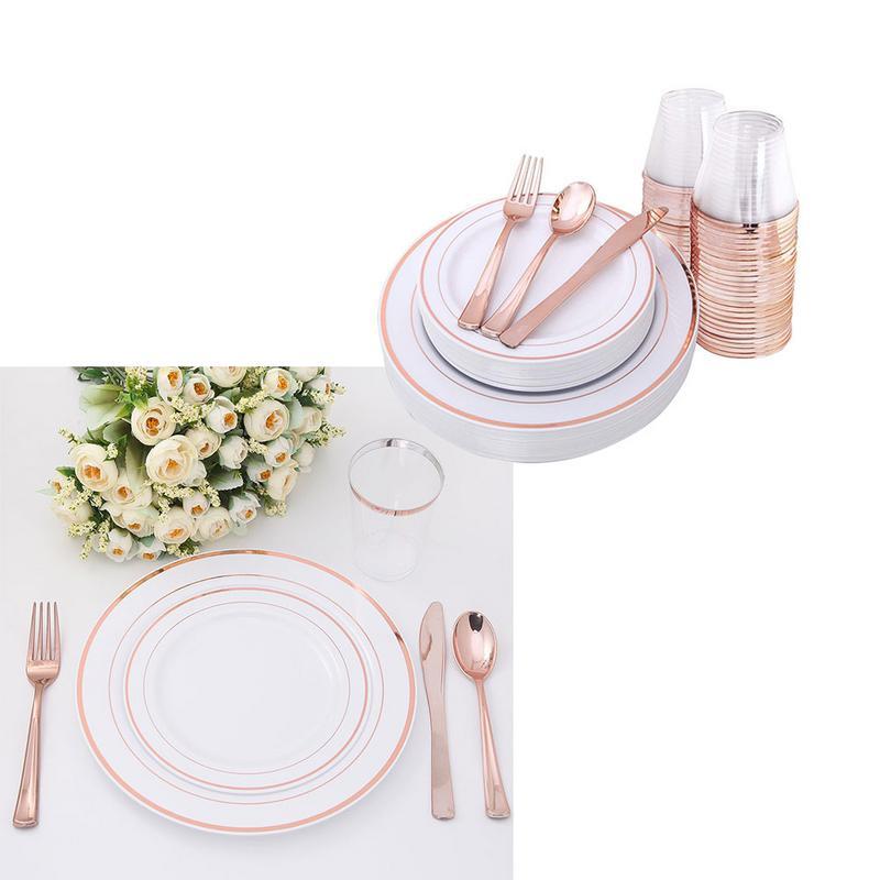 2019 ทิ้งทอง Rose Rose โปร่งใสถ้วย PS วัสดุชุดช้อนส้อม Tourist งานแต่งงานถ้วยพลาสติกทิ้ง-ใน เครื่องใช้บนโต๊ะปาร์ตี้ชนิดใช้แล้วทิ้ง จาก บ้านและสวน บน   2