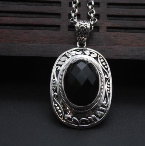 Solide 925 Pendentif en Argent Sterling Grand Noir Agate Pendentif Ovale