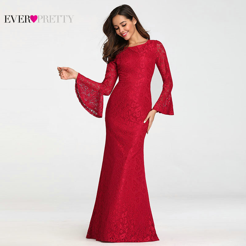 Ever Pretty Muslim Evening Dresses Long Elegant Full Lace Red Long Sleeve Cheap Formal Prom Gowns EZ07798 Abendkleider 2019(China)