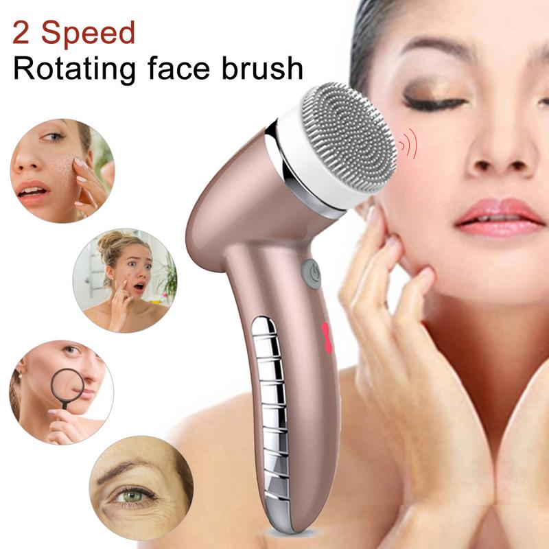 4 In 1 Electric Facial Cleansing Brush Device USB Rechargeable Gentle Exfoliating Deep Cleansing Removing Blackhead Skin Care