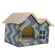Double Top Pet Dog House Kennel Teddy Nest Soft Cat Bed Winter Warming Cozy Travel Product