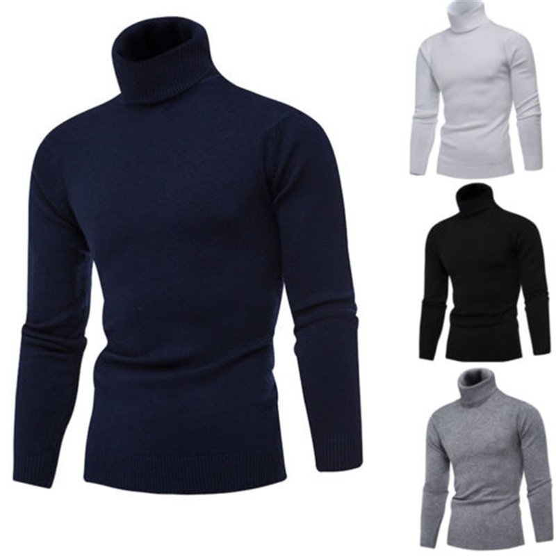 Mens Roll Turtle Funnel Neck Knitted Winter Top M L XL XXL