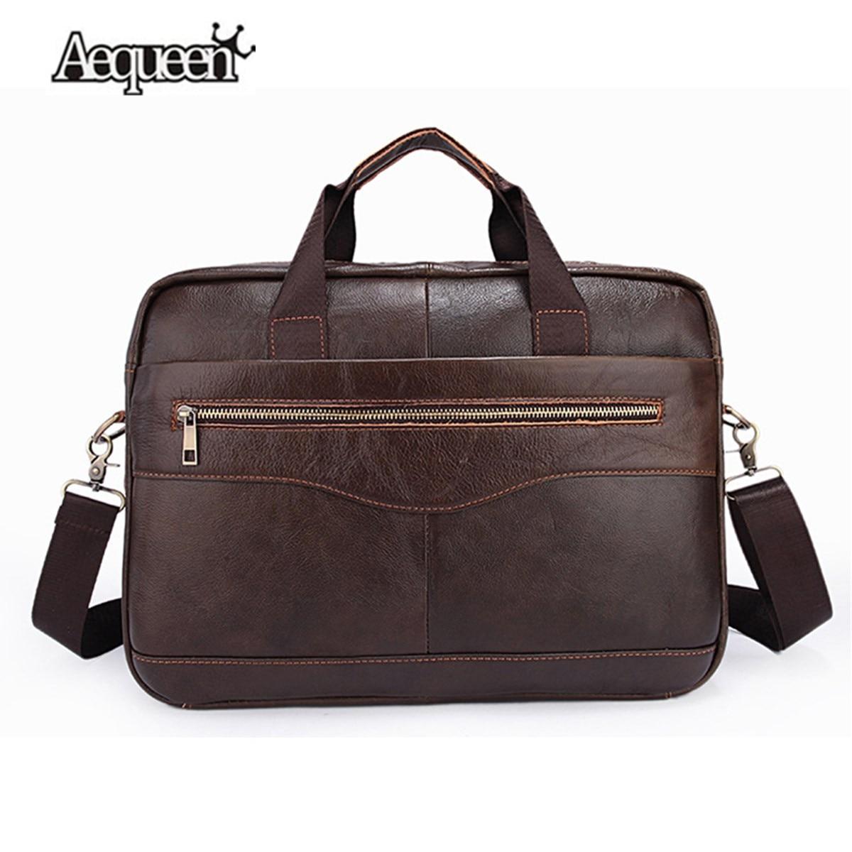 Genuine Leather Men's Briefcase Vintage Business Computer Bag Fashion Messenger Bags Tote Man Shoulder Bag Postman Male Handbags