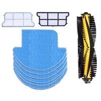 New 9 Pcs/Set 6 x Mop Cloths+2x Dust Hepa Filter+1xMain Brush Kit Parts For Chuwi ilife v7s v7s Pro Robotic Vacuum Cleaner