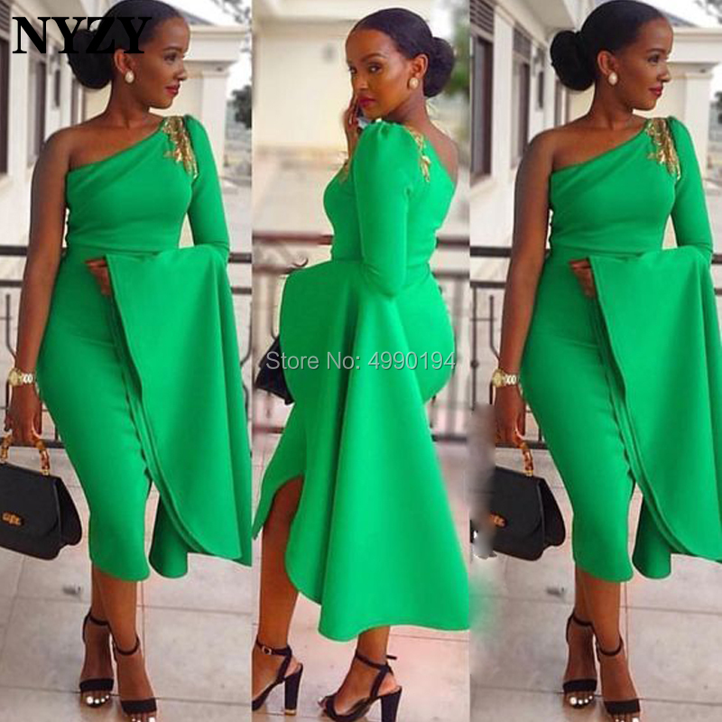 NYZY C98 Elegant Grass Green Satin One Long Sleeve Evening Dress Short Tea Length Robe Cocktail Dress Party Vestido Coctel 2019