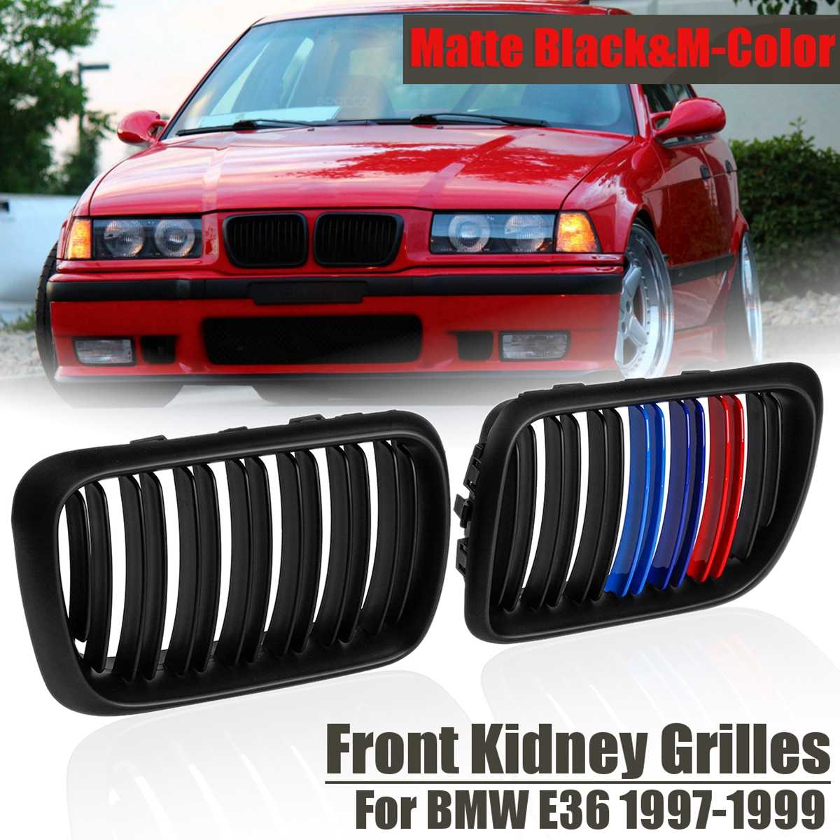 Pair Matte Black&M Color ABS Front Kidney Grilles For BMW E36 1997 1998 1999 Auto Racing Grills Car Styling 51138195152-in Racing Grills from Automobiles & Motorcycles    1