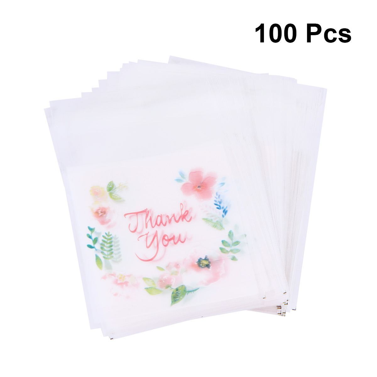 100 Pcs Plastic Bags Thank you Cookie&Candy Bag Self-Adhesive For Wedding Birthday Party Gift Bag Biscuit Baking (7x10cm)