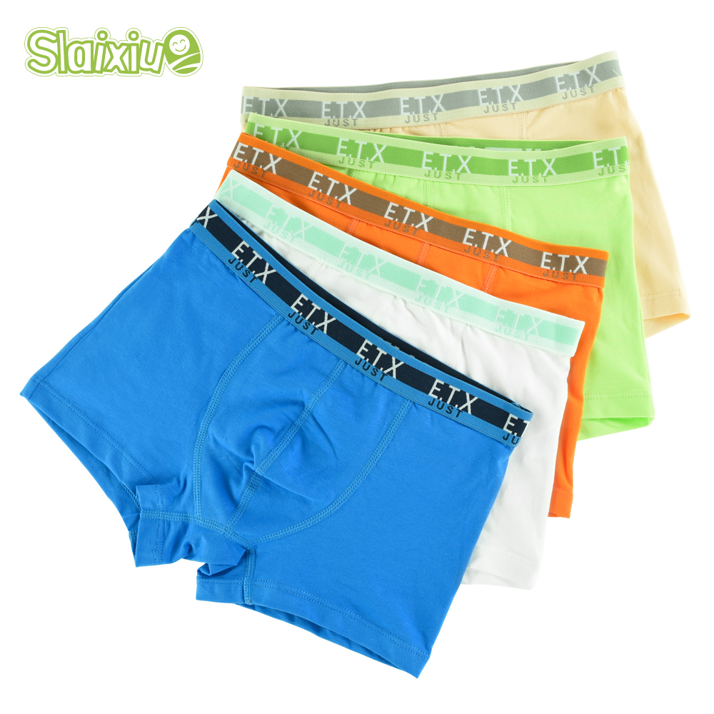 5 Pcs/lot Soft Cotton Kids Boys Underwear Comfortable Pure Color Children's Boy Boxer Shorts Panties Teenage Underwear 2-16y