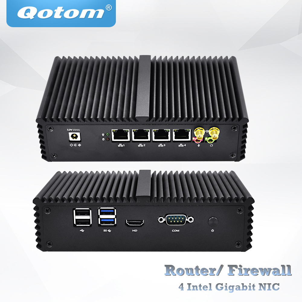QOTOM 4 Gigabit NICs Mini PC Q350G4Y Q370G4Y Core I5 I7 11.5W Barebone Industrial Gateway Firewall Router Pfsense AES-NI