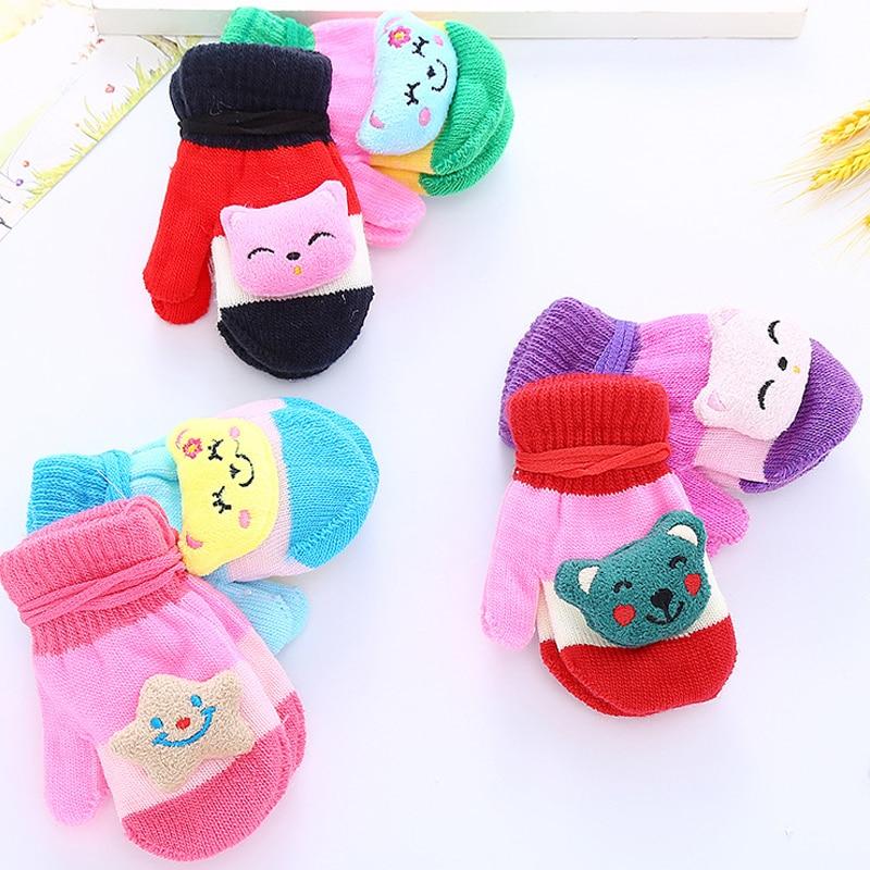 Korean fashion autumn and winter warm gloves cartoon cute soft comfortable knitted childrens accessories