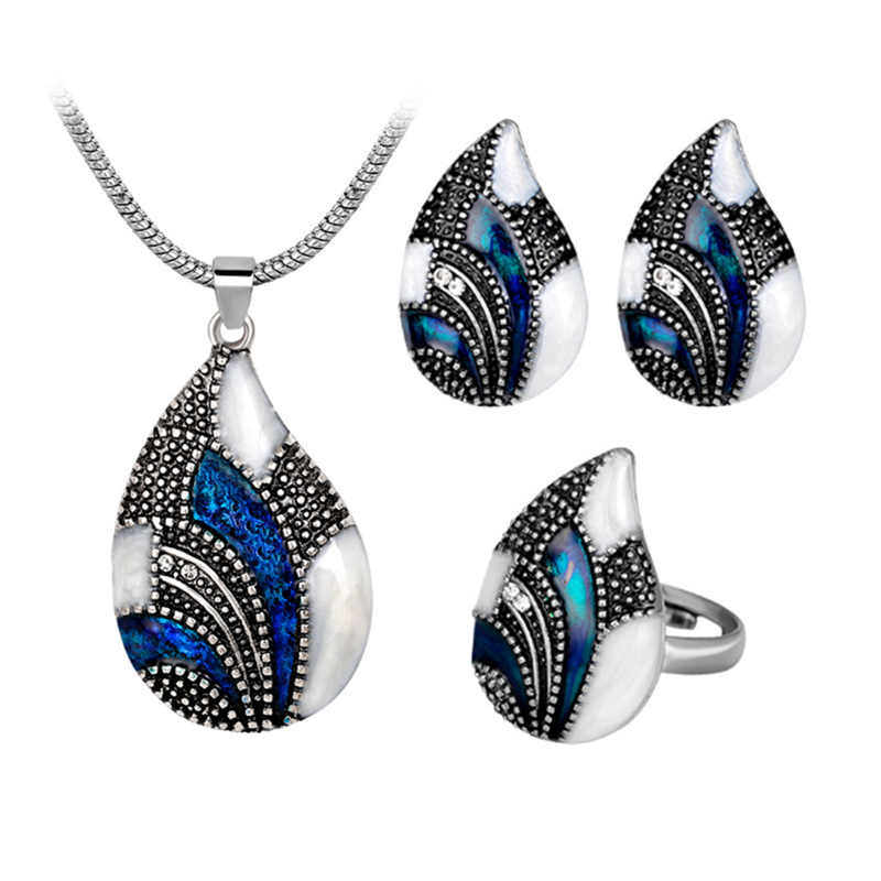 2019 Hot Women's Fashion Retro 3 Pcs/Set Bride Wedding Luxury Crystal Necklace/Earrings/Ring For Women Water Drop Jewelry Set