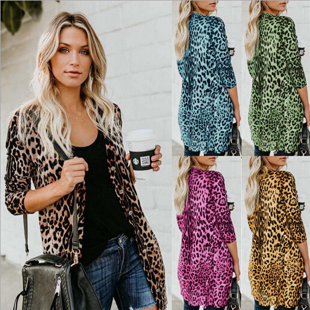 NEW Fashion Women Full Sleeve Leopard Print Long Shirts Top Street Style Slim Fit Cardigan Outwear Autumn