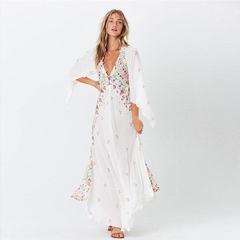Summer Women Bohemian Dresses Print V Neck Long Dresses Women Vestidos Long Flare Sleeve Beach Dress in Dresses from Women 39 s Clothing