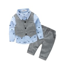 884d6c3b12d Kids Children Vest Shirt Pants Three-piece Infant Clothing Baby Suit Spring  Autumn Western Style