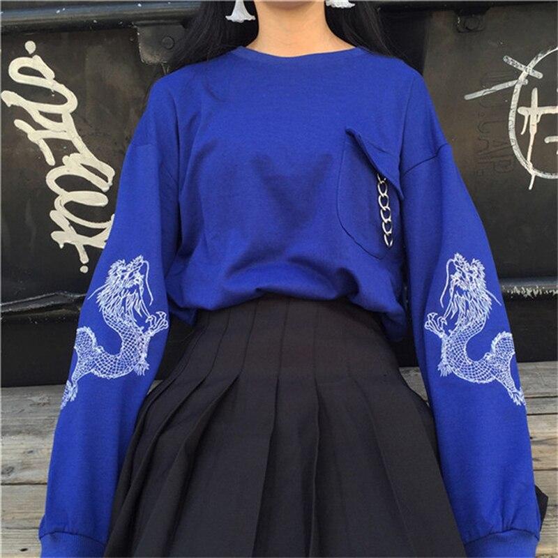 Poleron Mujer 2018 nueva Moletom estilo coreano Harajuku sudaderas dragón bordado manga larga Sudadera con capucha Mujer sudaderas