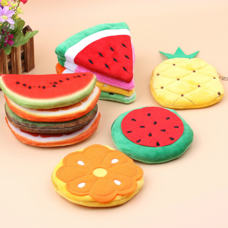 All Summer Fruits Plush Toy Pocket Purse Kawaii Keychain Plush Coin Wallet Bag Keychain Plush Toy Kids Girl Women For Gift Hot
