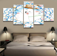 5 Piece Cartoon Pictures Artwork Doraemon Anime Poster Paintings Canvas Art for Home Decor Wall