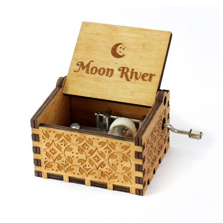NEW Creative Antique carved wooden game of thrones music box,Beauty And Digimon you are my sun rose life moon river image