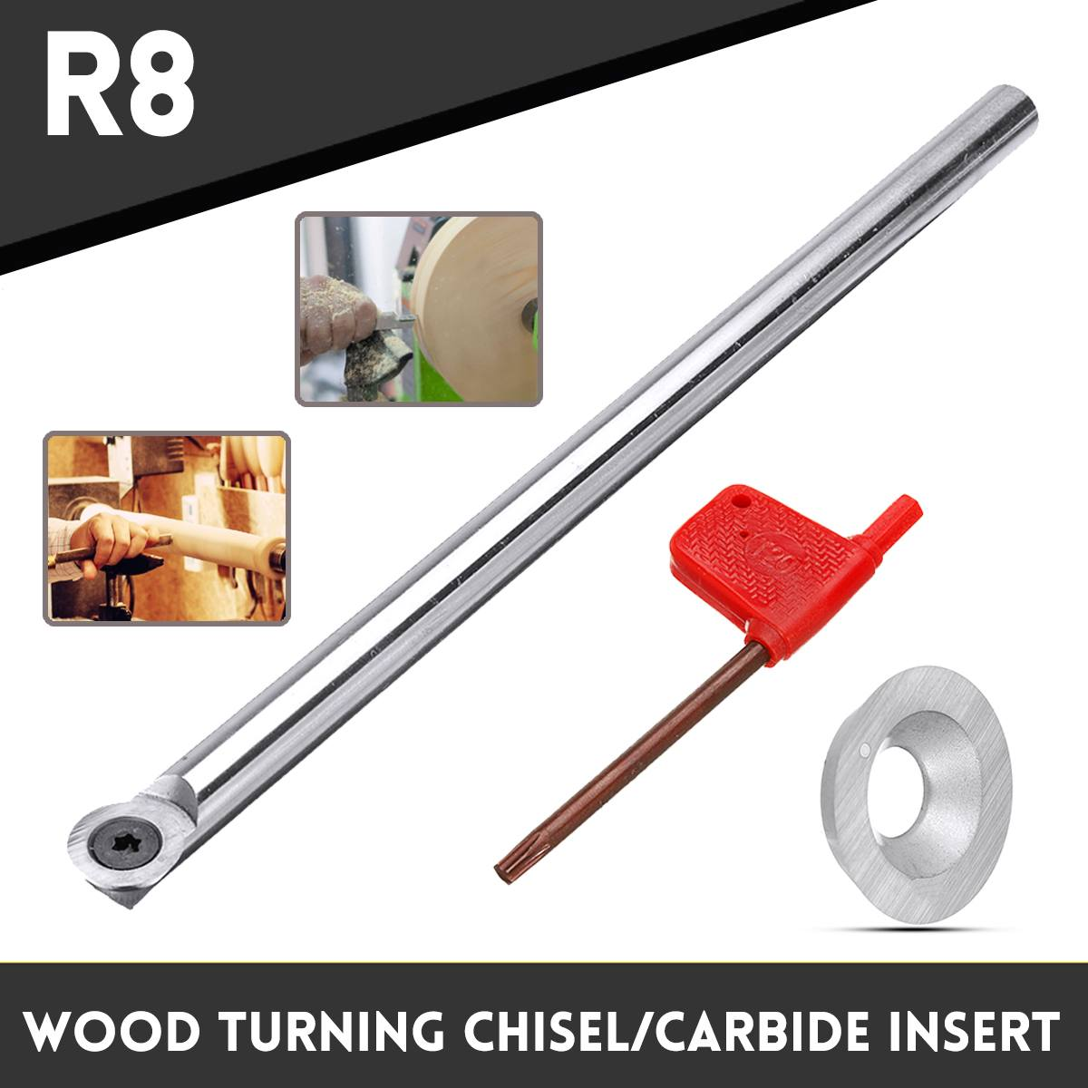 R8 Round Lathe Wood Turning Chisel Tool Insert Cutter With Wrench Or Carbide Insert Woodworking Tool