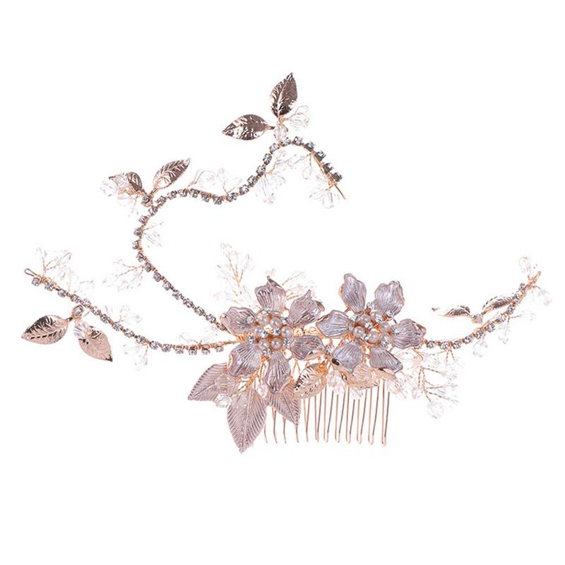 Bride Hair Combs Rose Gold Leaf Handmade Pearl Hair Comb Headwear For Women Wedding Hair Accessories